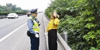 """民警拦下在应急车道上行走的女子。 """"成都交通运输""""微博 图 - News.Sina.com.Cn"""